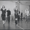 Dancers (straw hats, touching brim) in rehearsal for the stage production Dancin'