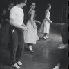 [B3-22B] Larry Kert[?], Chita Rivera, and Lee Becker rehearsing for the stage production West Side Story