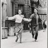 Victoria Mallory and Kurt Peterson running down street in Manhattan for After Dark Magazine