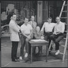Stephen Sondheim, Arthur Laurents, Hal Prince, Robert E. Griffith, Leonard Bernstein, and Jerome Robbins during rehearsal for the stage production West Side Story