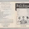 Program for the stage production Upbeat-U.S.A. at the Roxy Theatre, performed during screening of the motion picture The Perfect Furlough