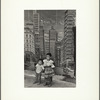 Untitled (two somber children; skyscraper background)