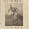 "Front cover of the program for Asadata Dafora's dance/opera production ""Kykunkor,"" at the Little Theatre, New York City, depicting Dafora as the Bridegroom, 1934"