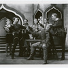 Richard Basehart, Jose Ferrer (Iago), Sam Burnham, Eugene Stuckmann, two unidentified actors and James Monks (seated, as Cassio) in the stage production Othello