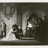 Paul Robeson (Othello), Uta Hagen (Desdemona), Averell Harris, unidentified actor (kneeling), Victor Thorley, and three unidentified others in the stage production Othello