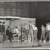 Ken LeRoy and Mickey Calin aka Michael Callan (seated), David Winters (4th from right), Tony Mordente (3rd from right) and cast as Sharks and Jets in the stage production West Side Story