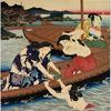 Prince Genji drinking saki in a boat while watching Awabi divers