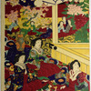"Meiji Emperor and Empress enjoying the play ""Shakkyo"""