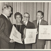 John McClain, Lorraine Hansberry, Friedrich Duerrenmatt and Robert Dhery during Hansberry's receiving the New York Drama Critics Award
