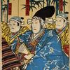Three actors as samurai before bamboo screen