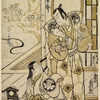Segawa Kikunojo as a woman at her toilet before a mirror and Nakamura Katsujuro as a samurai standing beside her.  Outside the house, a blossoming cherry tree appears, and a glimpse of a winding stream