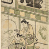 Naramura Tomijuro as a woman dressing the hair of a man- the actor Otoni Hiroji- seated by a hous, upon the shoji of which appears the silhouette of a woman carrying a bag