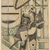 Ichikawa Ebizo in the role of Agemaki no Sukeroku standing before a joroya and waving an open umbrella
