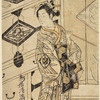Nakamura Matsue in a female role, represented as standing in his dressing room in the Nakamura theatre