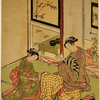 Two women seated in a parlor by a bamboo stand overwhich an overcoat has been thrown, thus forming a sort of kotatsu.  One of the women holds an incense burner.  In the background is a go table