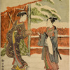 A young man and young woman standing in snow and taking leave of each other outside a covered gate and fence of orange red color, beyond which appear bamboo branches heavily snow-laden