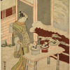A tall oiran standing in the snow, with a large knife in her hand, before a bench on which are three dwarf trees in pots.  In the background the walls of a house and a red fence of bamboo branches heavily snow laden