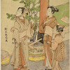 A man and his wife and daughter standing beneath a torii watching the flight of a bird and setting free another, with green plumage, which the woman holds in her hand.  By the torii a cage of similar birds and traps for ensnaring them