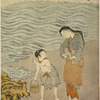 A woman and a small boy on the beach by the sea at Ise, the woman wringing water from her sleeve and talking to the boy, who has bare shoulders and legs and carries a basket in which he is gathering sea weed