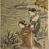Two women on the sea shore, one of them stooping to pick a blade of coarse grass growing at the water's edge.  In the background are fishermen's thatched huts upon  a point of land jutting out into the sea