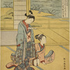 A woman standing in a room reading the superscription of a letter held in her hand, and beside her on the floor, another woman holding a samisen.  Back of them through the open shoji the water of a lake is seen, with a bird upon the shore and another flying down