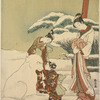 An oiran standing by a clump of snow laden bamboo, watching her two kamuro make a large snow dog