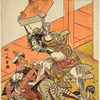 Tadanobu, one of the chief retainers of Minamoto Yoshitune slaying one of his would-be captors with a heavy go table when betrayed to Yoritomo by his mistress