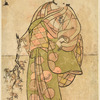 The actor Nakamura Matsue in the role of a woman holding a branch of plum blossom