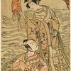 "Scene from the drama ""Matsukaze"".  Iwai Hanshiro in the title role, standing under a pine tree on Suma beach, holding a nobleman's hat, and Ichikawa Komazo as Yukihira, seated before her"