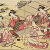 Yoshiwara women playing the koto, samisen, and shakuhachi, one smoking and writing a letter