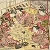 Five Yoshiwara women playing the game of Utagaruta (poetry card game)