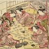 Five Yoshiwara women playing the game of Utagaruta (poetry card game)