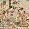 Two Yoshiwara women playing sugoroku (similar to backgammon), and a third woman watching them and leaning over a hibachi upon which a charcoal fire is burning