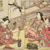 A Yoshiwara woman arranging flowers in a bronze vase and two women looking on