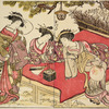 Three Yoshiwara women setting off incense fire-works while seated on a wooden bench under a pine tree