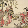 Three Yoshiwara women in a field near a small stream catching singing locusts (mushi)