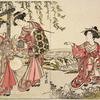 Three Yoshiwara women in a field near a small stream catching singing locusts (mushi)