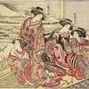Group of four Yoshiwara women viewing Mount Fuji from the upper room of a joroya. One of them has a spy glass in her hand