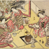 Three Yoshiwara women seated in a room in a joroya cooking delicacies