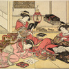 Three Yoshiwara women in a room in a joroya.  One is reading a book and the others are writing poems
