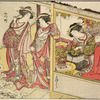 Two Yoshiwara women standing in the doorway of a joroya, looking at a snow-laden pine tree in the garden.  In the house back of them a third woman is seated by a brazier