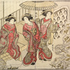Three Yoshiwara women admiring the pine trees in the joroya garden covered with a heavy mantle of snow