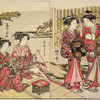 Two Yoshiwara women on their way to the football court which appears in the background, and two others sitting on the veranda of a house, smoking