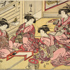 Four Yoshiwara women in a room grouped around a writing table