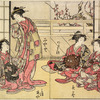 Four Yoshiwara women, one standing, the others seated in a parlor, the shoji pushed aside at the back, showing an ume tree in bloom