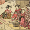 Group of five Yoshiwara women on the veranda of a house, in the time of the cherry blossoming