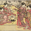 Four Yoshiwara women in a room in a joroya; two are standing engaged in conversation and two are seated by a hibachi