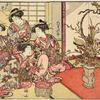 Group of four Yoshiwara women looking at an elaborate flower arrangement in a bronze vase