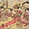 Yoshiwara women in a room in a joroya, playing the fan throwing game (tosen-kyo)