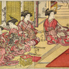 Four Yoshiwara women practicing archery